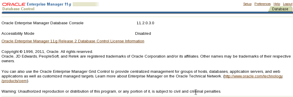 Oracle 11g Enterprise Manager DB Control Changing Accessibility Mode